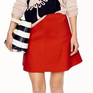 J.Crew Red Fluted Skirt in Double Crepe